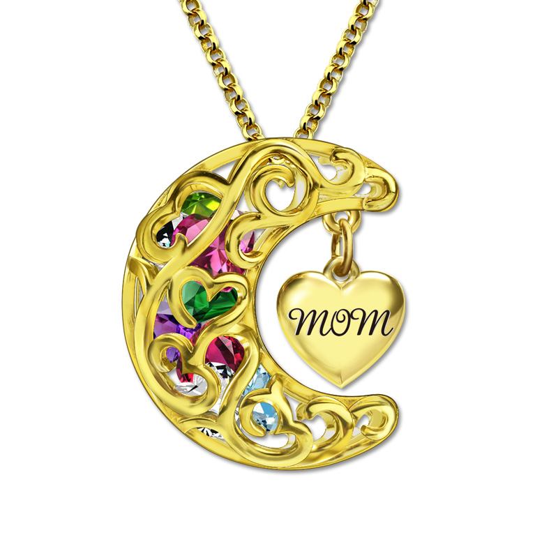 AILIN couleur or Love You to the Moon and Back Cage collier maman (Mum) pendentif pierres de naissance collier avec coeur pour mère