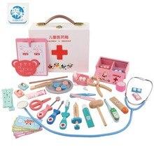 Детский игрушечный набор доктора, инструмент для инъекций, Деревянный инструмент для моделирования, настоящая медицинская коробка, игрушки для девочек, подарки, домашний стетоскоп