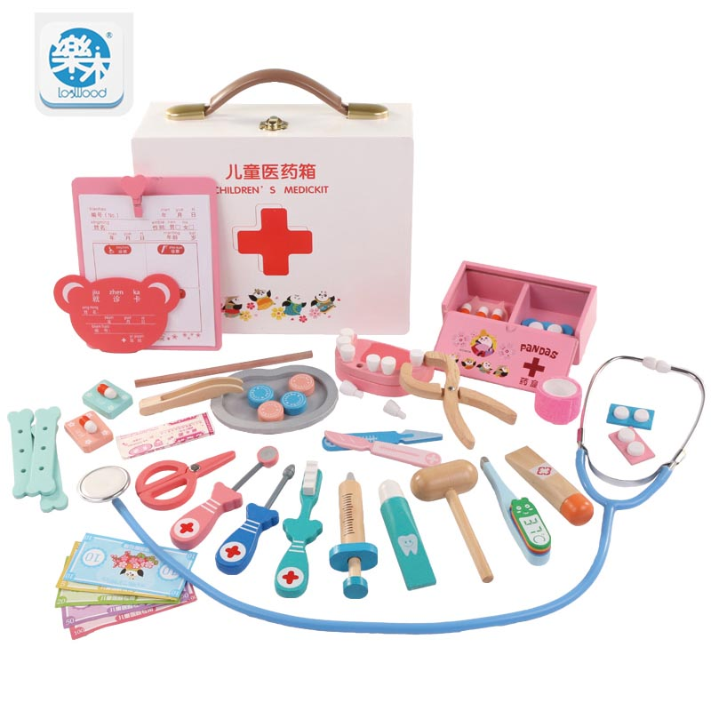Children's Doctor Toy Kit Injection Tool Wooden Simulation Real Life Medicine Box Girl Toys Gifts Home Stethoscope