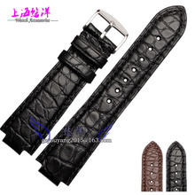 Alligator leather strap with male convex mouth black brown 21 12mm