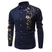 6b533a6a010ef3 2019 kwiat męskie koszule z długim rękawem hawajska mężczyźni koszula na co  dzień regularne dopasowanie bawełna