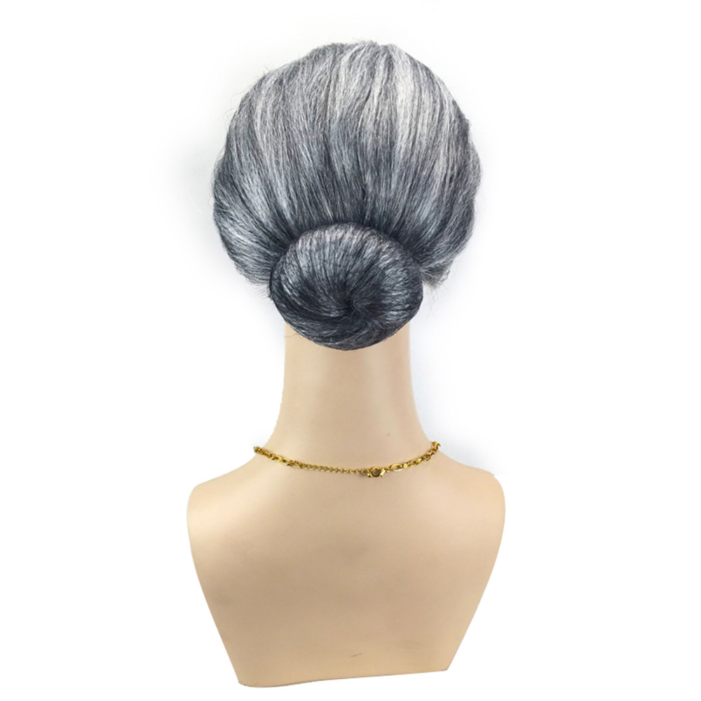 Old Lady Grandma wigs for women Granny Grey Wig Bun Hair Grand Mother Fancy Dress Costume wigs front lace 52523A