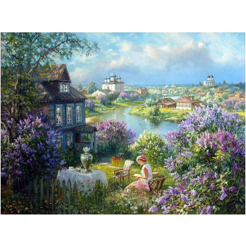 Gril in the Garden Scenic Diy Diamond Painting Landscape Full Embroidery DMC Diamond Cross Stitch Kits Decorative Paintings Gift