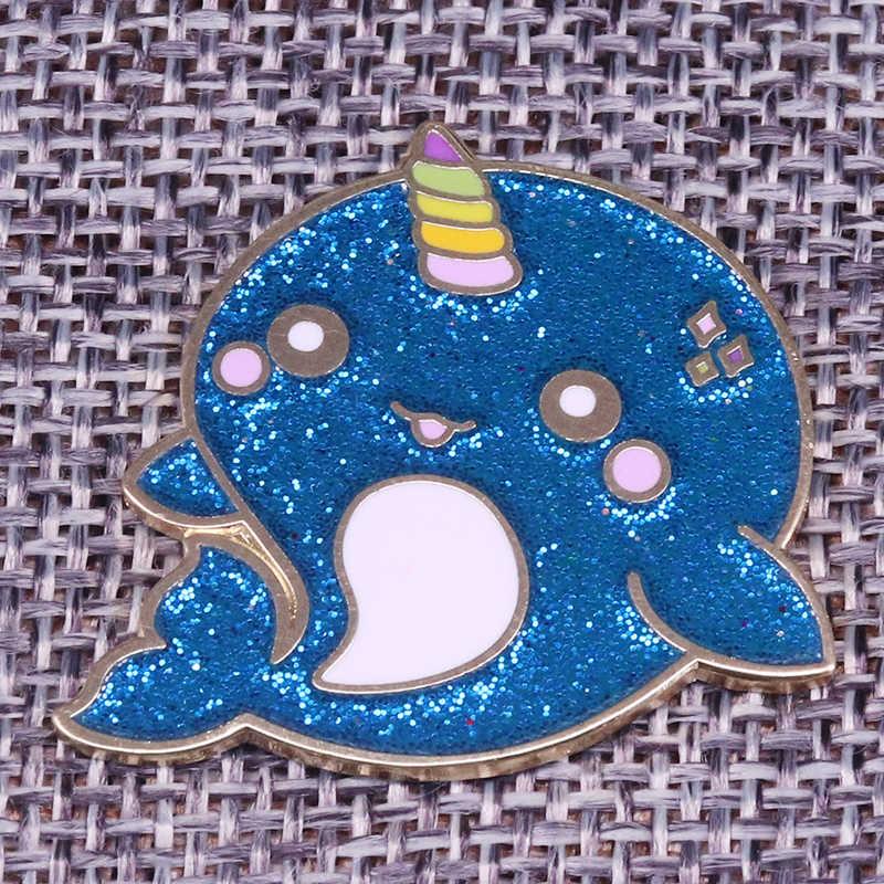 Cute Narwhal Enamel Pin Badge Gift Unicorn Of The Sea Whale Animal Kawaii Blue