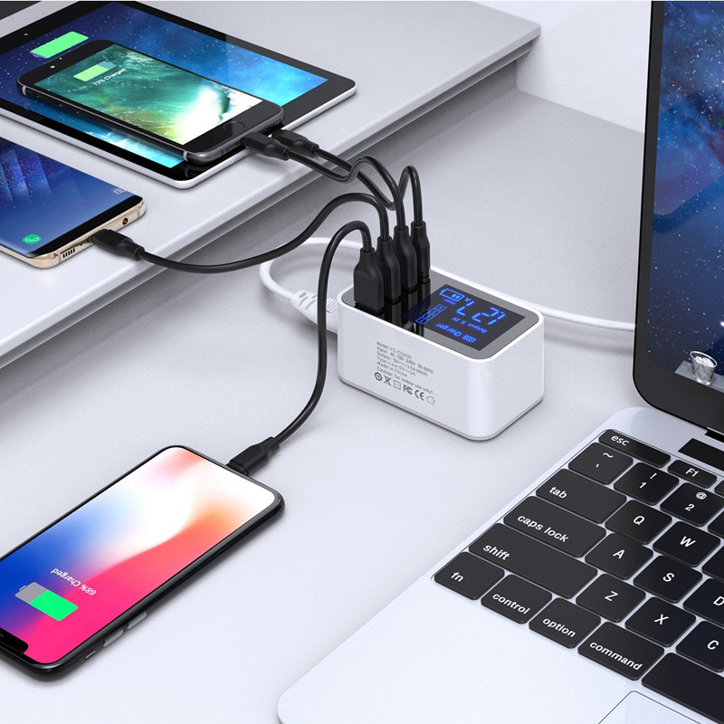 Quick Charge Type C USB Charger HUB Led Display Wall Charger Fast Mobile Phone Charger For iPhone Samsung USB Adapter EU US Plug in Mobile Phone Chargers from Cellphones Telecommunications