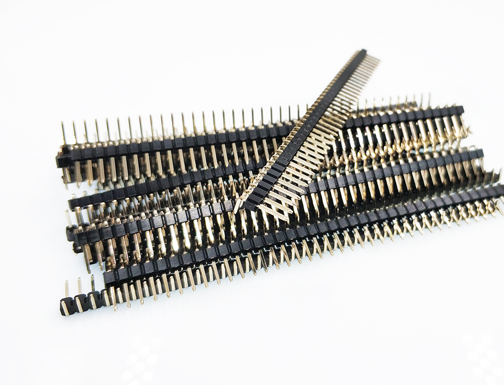 10pcs 2.54mm RA Pin Header Right Angle Male Pin Connector 1x40Pin Gold-plated Single Row Breakable Header Strip R1 R2 Optional