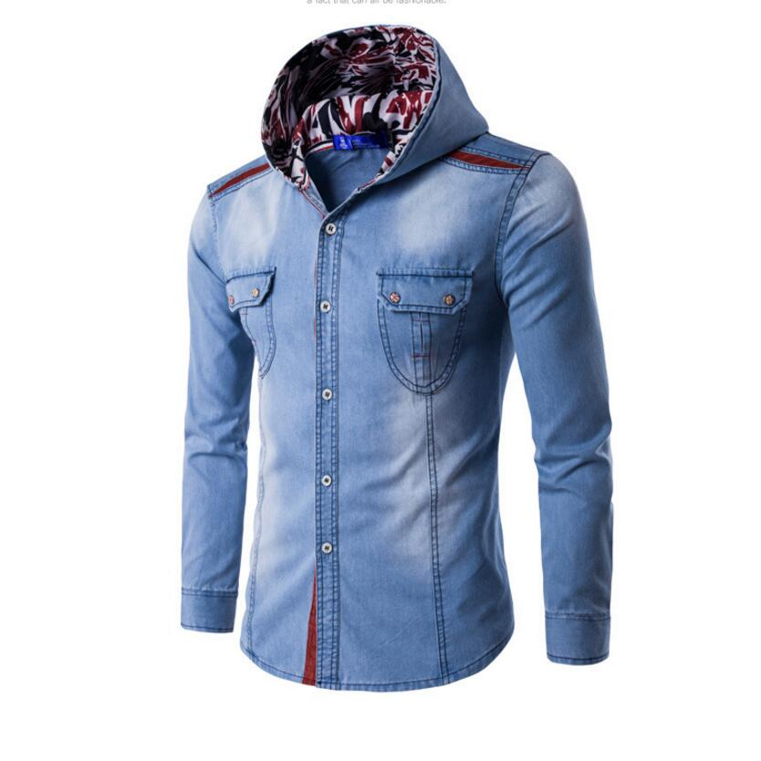 Men's Cotton Hooded Denim Shirts 2017 New Male Light Blue Long-sleeves Solid Casual Shirts Good Quality Shirts Size 3XL