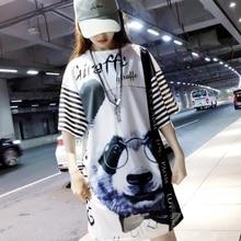 цена Mr.nut Panda Print Female Summer Hip Hop Street Dress with Glasses Short Sleeve Loose O-Neck Fashion Dress онлайн в 2017 году
