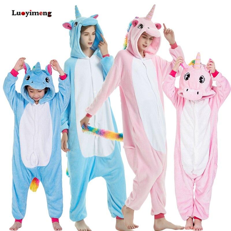 Детская зимняя единорога Пижама Kigurumi Пижама боди для Для женщин пижамы с животными для маленьких девочек Одежда для мальчиков, пижама с единорогом комбинезон