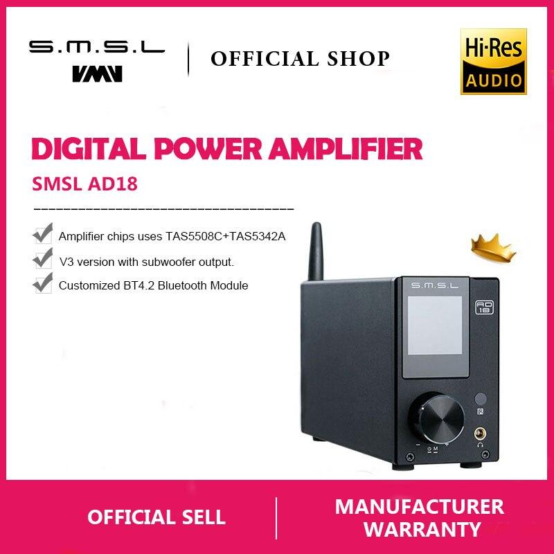 SMSL AD18 Hi-Fi аудио стерео усилитель с Bluetooth 4,2 поддерживает Apt-X, USB DSP полный цифровой усилитель мощности 2,1 для динамика