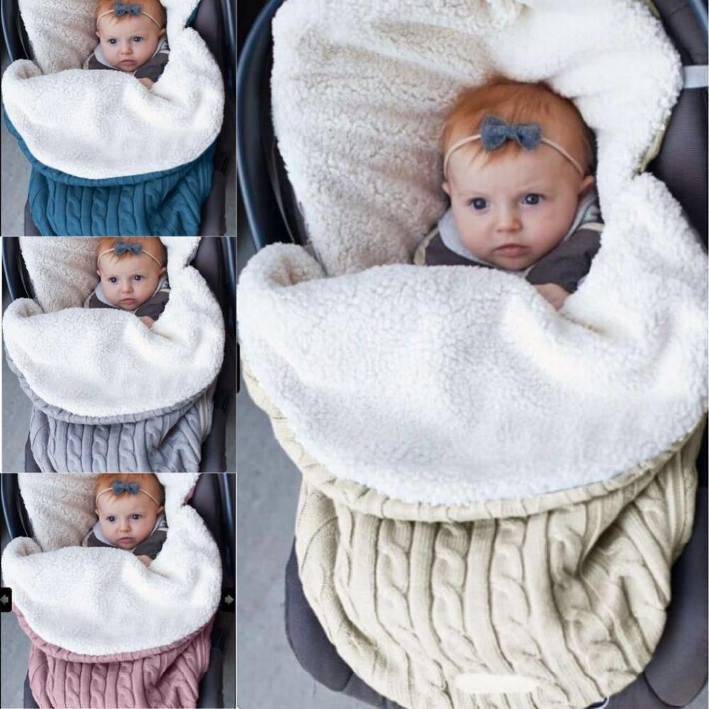 Actief Zachte Dikke Baby Inbakeren Wrap Knit Envelop Pasgeboren Slapen Baby Warm Inbakeren Deken Baby Kinderwagen Nachtkleding Gewaden Geavanceerde TechnologieëN