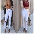 Nuevas Llegadas Agujeros Pantalones de Talle Alto Flaco Poco de Estiramiento Pantalones Largos Pantalones De Las Mujeres Negro Blanco Tallas grandes Pantalones