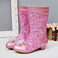 2017 new girls bling boots Princess children gold boots bowl winter leather boots free shipping no box high quality