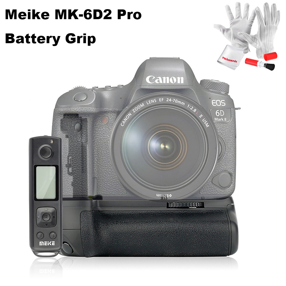 Meike MK-6D2 Pro Battery Grip for Canon 6D Mark II for Vertical Shootting Holder with 2.4G Wireless Remote System meike lcd timer battery grip for canon eos 5d mark ii 5d2 digital camera rc5 wireless infrared remote control