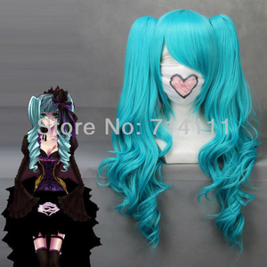 Miku Vocaloid 65cm Culy blue long cosplay wig with removable chip ponytails + wig cap(China)