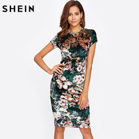 Forma Zabudowy SHEIN Floral Aksamitna Sukienka Zielona Sexy Kobiety Jesień Sukienka Z Krótkim Rękawem Kolano Długość Elegancki Pencil Dress