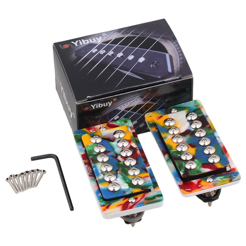 Yibuy 2 Pieces Colorful Silver Screws Electric Guitar Humbucker Pickup belcat bass pickup 5 string humbucker double coil pickup guitar parts accessories black