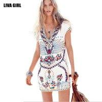 2017 Summer Fashion Trends V Collar Sexy Mini Dress Europe Beach Style Casual Printing Women Dress