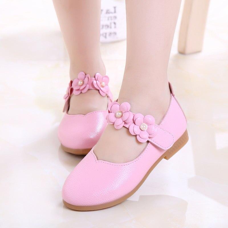 Girls Shoes 2018 Autumn Fashion Flower Kids Leather Shoes Size 21-33 Princess Dance Party Children Shoes XZ01