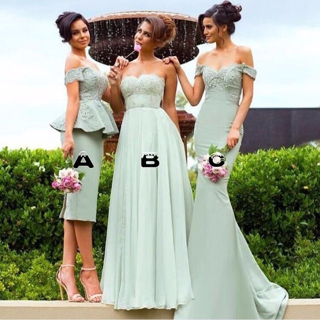 e640c011a4 US $75.0 |Mint Green Lace Sheath Peplum Honor Of Bride Elegant Bridesmaid  Dresses 2017 3 Styles Vestido Madrinha Prom Gowns Wedding Party -in ...