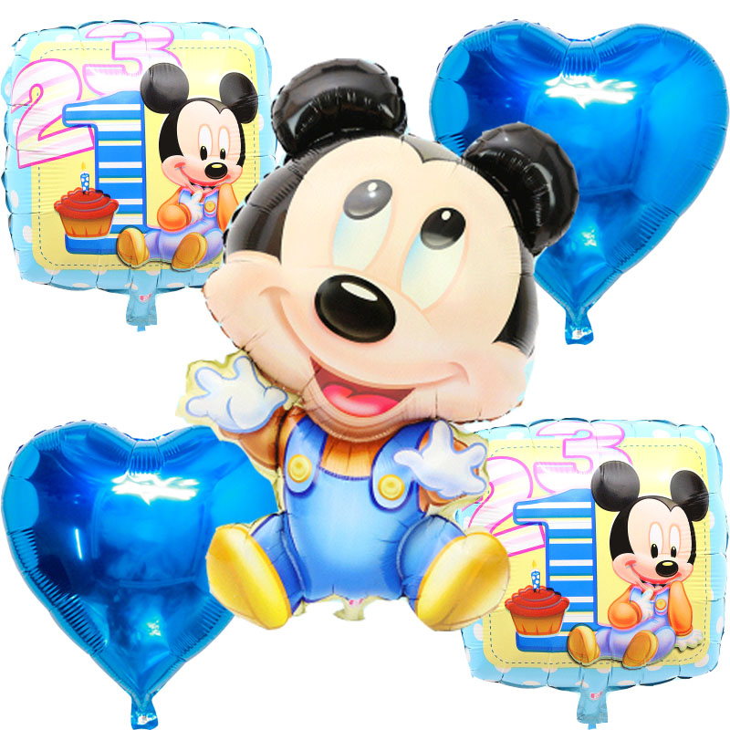 5pcs/lot Running Mickey Minnie foil Balloons globos inflatable happy Birthday ba