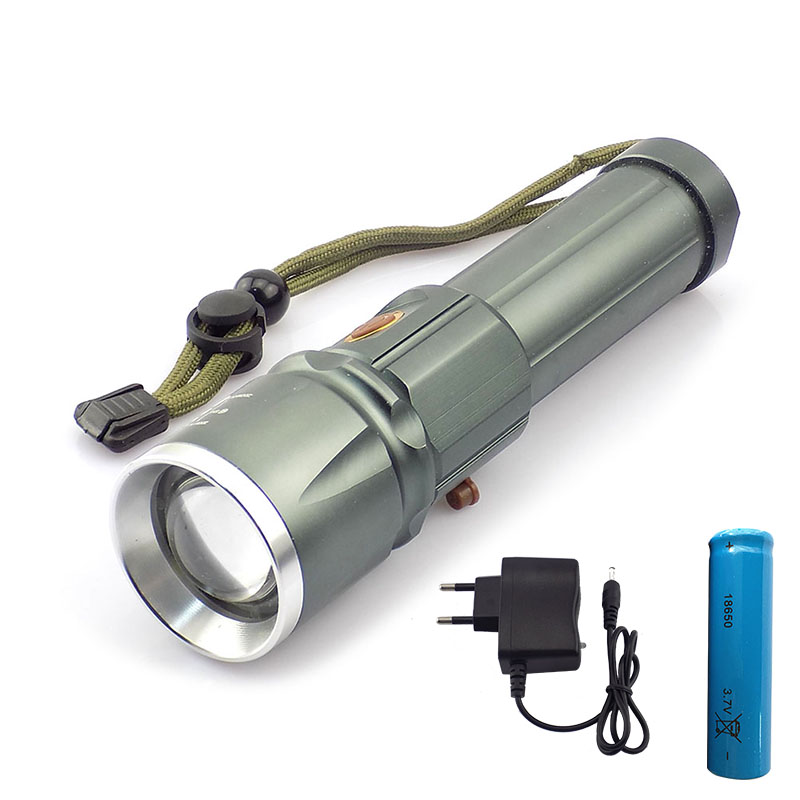 Powerful L2 Led flashlight flash lamp Torch super Bright zoomable focus lanterna 18650 battery AC charger for hunting camping super bright tactical 3 modes 18000 lumen 9x xm l l2 led powerful flashlight torch for hiking camping hunting battery charger