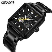 OUBAOER Mechanical Watch Men Hodinky XFCS Luxury Brand Full Steel Rectangle Automatic Watch Mens Wristwatch Relogio Masculino