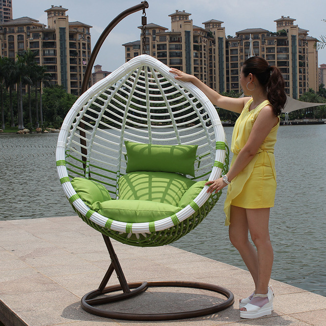 Hanging Chair Outdoor Painted Wood Chairs Crude Rattan Basket Leisure Spider Balcony Cradle Swing Rotation Send Cushion