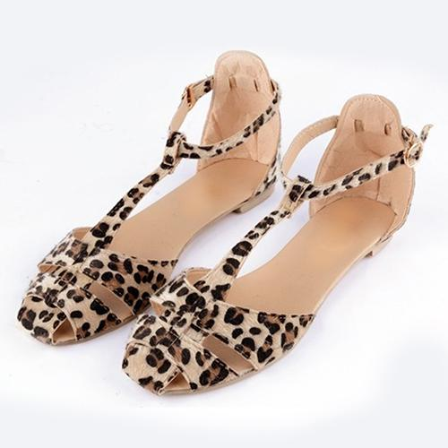 Women Summer Fashion Beach Casual Sandals Leopard Print Flat Heel Shoes fashion tassels ornament leopard pattern flat shoes loafers shoes black leopard pair size 38