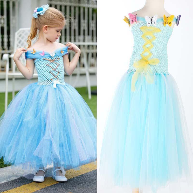 Fluffy Flower Girl Princess Dress Cinderella Design Kids