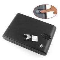 Quality Fingerprint Safe Box Solid Steel Key Gun Vault Valuables Box Cable Portable Bio Box