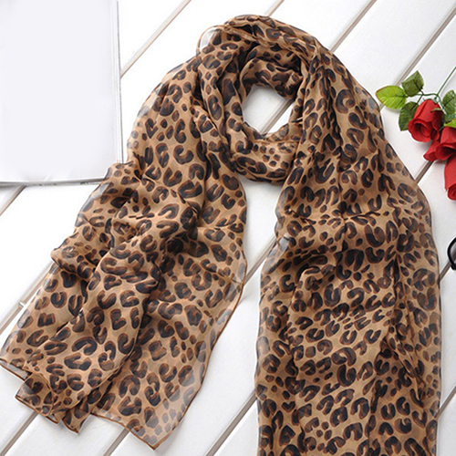 Fashion Women Long Leopard Shawl Neckerchief Chiffon Wrap Stole Scarf Gift