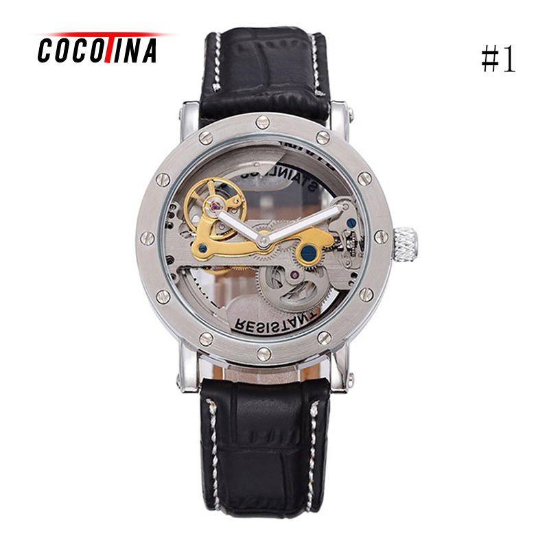 COCOTINA Automatic Mechanical Watches Men Top Brand Luxury Leather Stainless Steel  Watch Relogios Masculino LSB01135 tevise fashion auto date automatic self wind watches stainless steel luxury gold black watch men mechanical t629a with tool