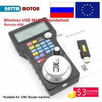EU/RU Ship Free Tax!! Wireless USB MACH3 MPG Pendant WHB04 L 40M w/ Electronic Handwheel for CNC Mach3 hand wheel for CNC Router