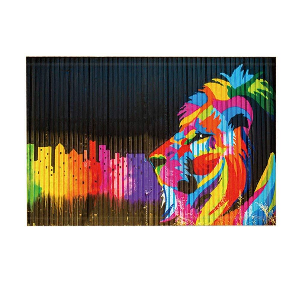 Rainbow Bath Rugs By Cerativity Colorful City Mansion And LionNon-Slip Doormat Floor Entryways Indoor Front Door Mat