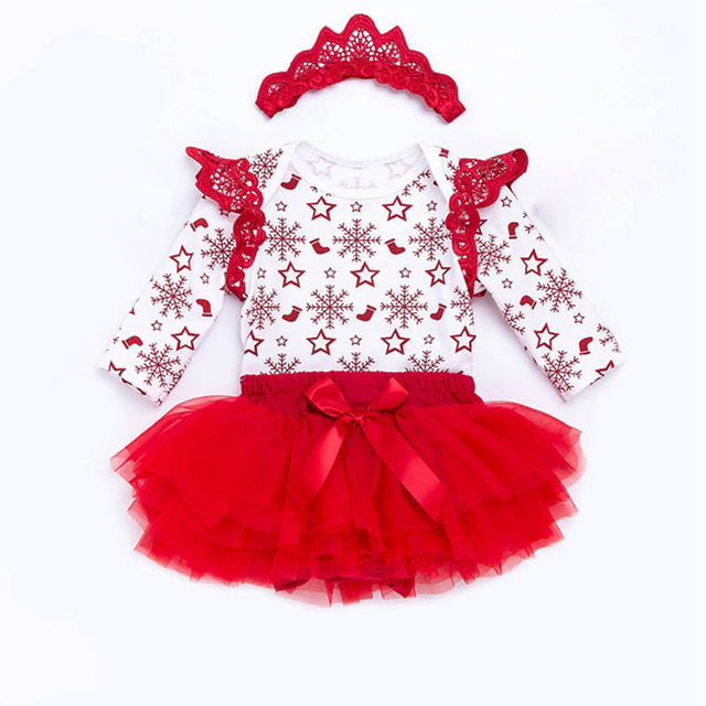 ea12177bcac3 Newborn Christmas Clothes Set Red Snow Infant Girls Clothing Long ...