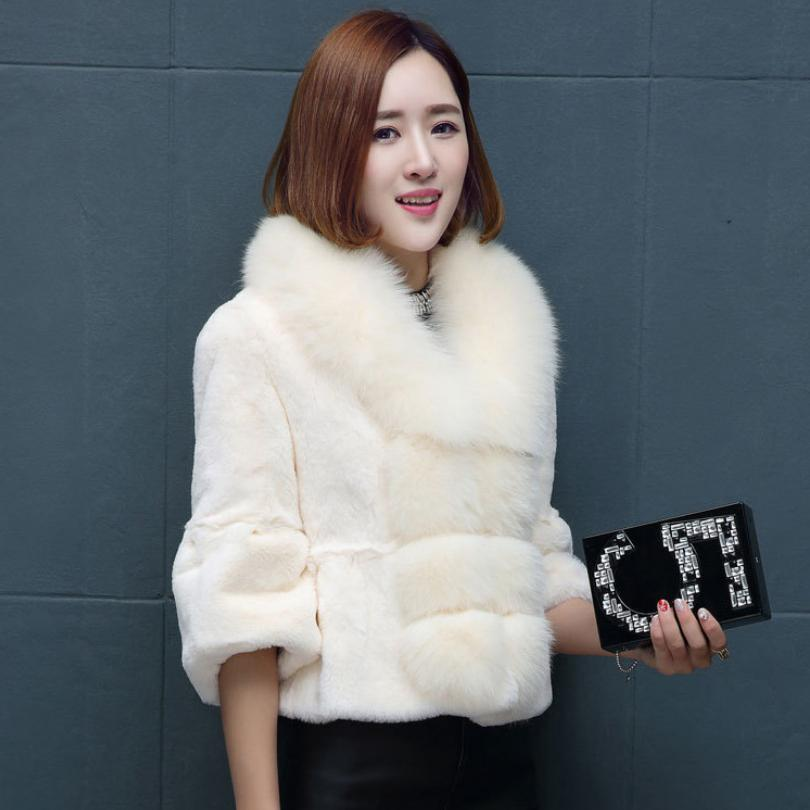 De Veste Rex Renard Manteau Hiver Mode Épaissir black Lapin Grande grey L1683 Fourrure Red Plus Col Faux white Taille Femelle Chaud Leather Femmes dzSCqw