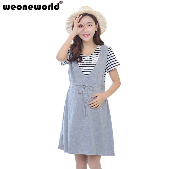 f4d67ff0b62 WEONEWORLD Summer Pregnancy Clothes Korean Maternity Dresses for Pregnant  Women 2018 New Fashion Stripe Pregnante Clothing