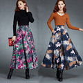 Custom Made 2017 New Arrival Autumn And Winter Linen Skirt Women's Large Size Casual Maxi Long Print Skirts