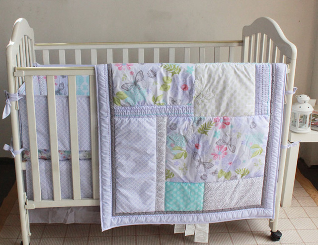 Embroidered Light Blue Flowers Butterfly Baby Bedding Set