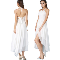 Chiffon Dress with Asymmetric Hem Halter Neck Bandage Tie Back High Waist for Women 2018 Party Sexy White Dresses for Woman
