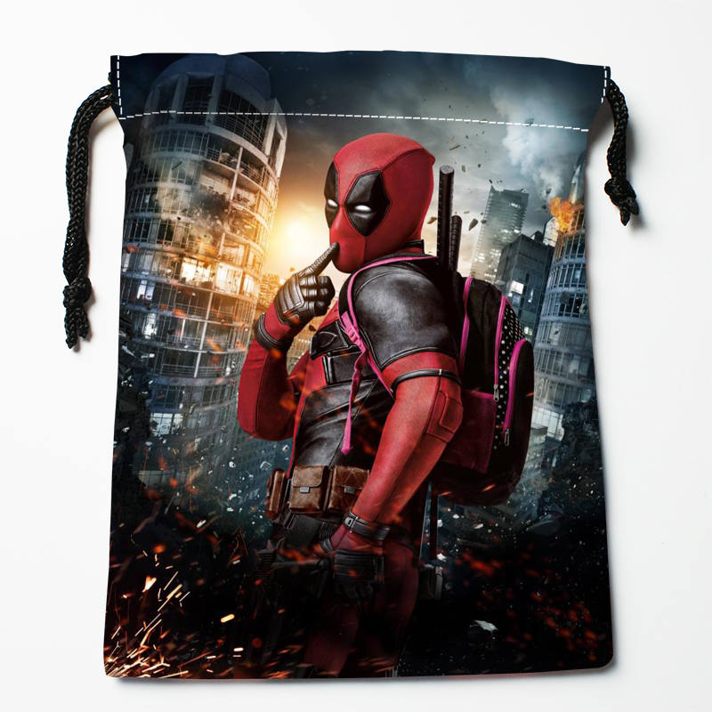 Custom Deadpool Printed Satin Storage Bag Drawstring Gift Bags More Size Storage Custom Your Image 27x35cm