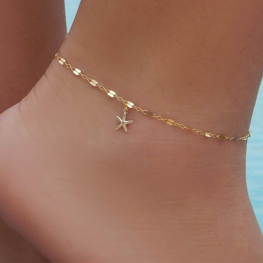2017 boho starfish Women Anklet Foot chain Jewelry Ankle bracelet Femme cheville bijoux pulseras tobilleras mujer