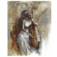 Top Skill Handmade Wall Artwork Decoration Painting Sex Girl Soul Musician Play the violoncello Modern Abstract Oil Painting