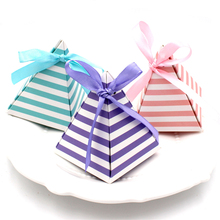 50pcs/lot Big stripe Swet Pyramid Shape Wedding Candy Box European creative wedding Party Shower Favors Box Baby Sh silk ribbon