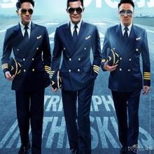 Новые мужские костюмы ВМС пилот двойные грудь темно-синие этап хозяин костюмы