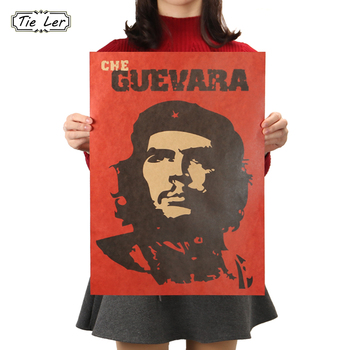 TIE LER Che Guevara Character Retro Posters Advertising Nostalgic Old Bar Decorative Painting Vintage Wall Sticker 51.5X36cm image