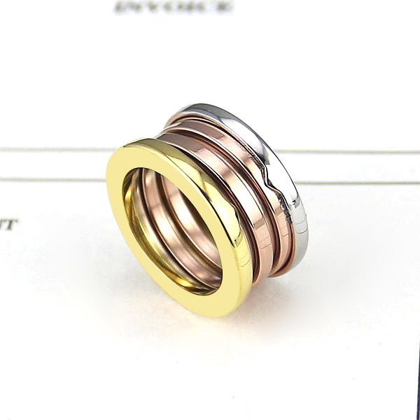 Wholesale brand jewelry Fashion titanium steel 3 mix color spring rings for women men couple engagement wedding bulgaria ring