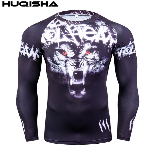 Mens MMA Fitness Rashguard T Shirts Fashion 3D Teen Wolf Long Sleeve Palace Compression Shirt Man Bodybuilding Clothing 2