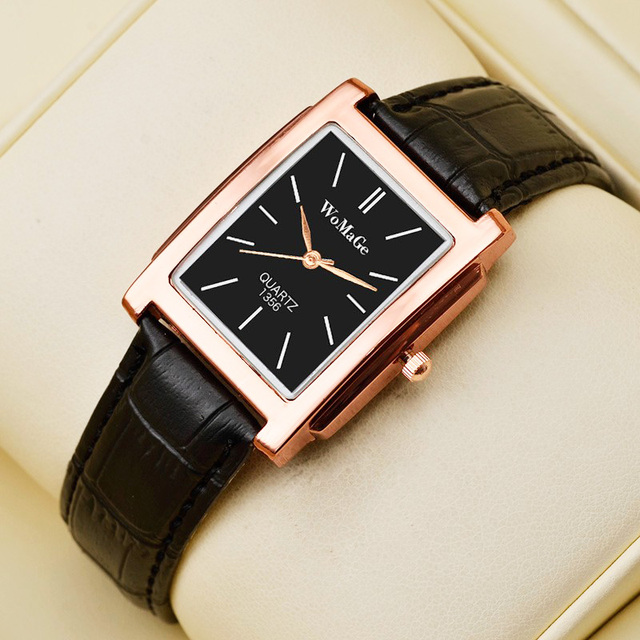 Black Square  Luxury Leather Band Quartz  Vintage watch 2